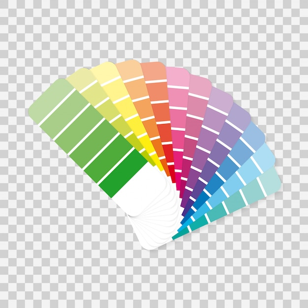 Przewodnik po paletach kolorów na szarym tle.