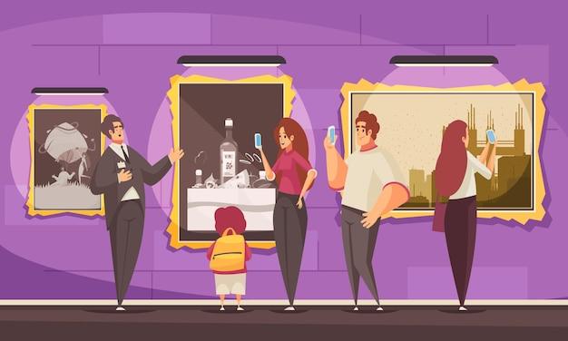 Przewodnik po wycieczkach przedstawia kompozycję muzeum z luksusowym otoczeniem i doodle postaciami odwiedzających i ilustracją przewodnika wycieczki