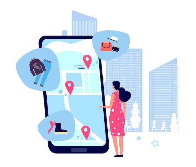 Przewodnik po zakupach. kobieta szuka sklepów na mapie. ilustracja lokalizacji aplikacji mobilnej gps online na zakupy