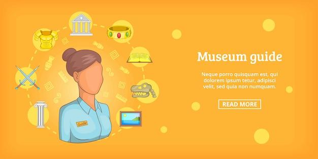 Przewodnik poziomy transparent muzeum, stylu cartoon