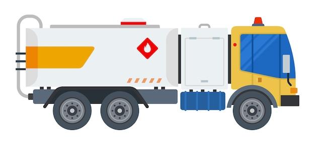 Przewożenie ładunków paliwa samochód płaska konstrukcja na białym tle obiekt na białym tle