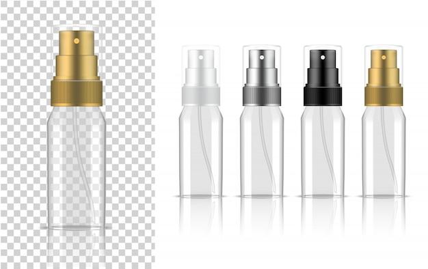 Przezroczysta butelka z rozpylaczem realistyczny kosmetyk lub płyn do pielęgnacji skóry