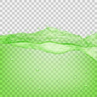 Przezroczysta fala wody z kroplami i bąbelkami w kolorach zielonym, na przezroczystym tle. przezroczystość tylko w pliku wektorowym