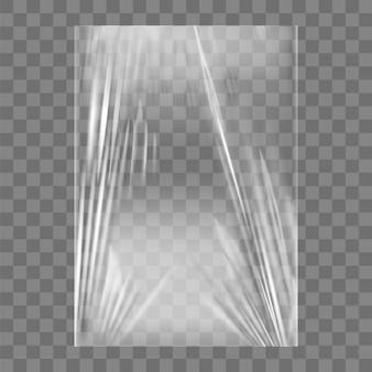 Przezroczysta folia stretch z tworzywa sztucznego. realistyczne tło folia stretch zawijanie polietylenu. przezroczysty pakiet celofanu