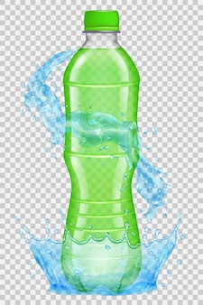 Przezroczysta Korona Wody I Plamy W Jasnoniebieskich Kolorach Wokół Plastikowej Butelki Z Zieloną Nakrętką Premium Wektorów