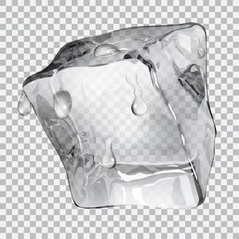 Przezroczysta kostka lodu z kroplami wody w szarych kolorach