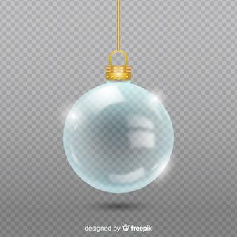 Przezroczysta kryształowa kula świąteczna