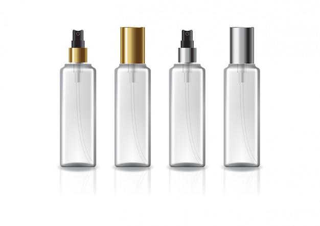 Przezroczysta kwadratowa butelka kosmetyczna o dwóch kolorach złota-srebrnej głowicy natryskowej.
