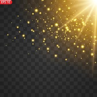 Przezroczysta lampa słoneczna ze specjalną lampą błyskową z przednim światłem lampy błyskowej. rozmazać się w świetle blasku.