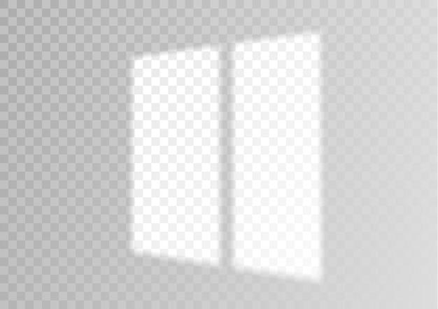 Przezroczysta nakładka na okno i cień rolety realistyczny efekt świetlny
