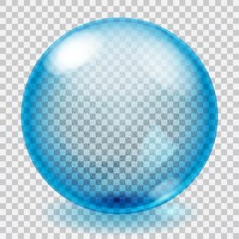 Przezroczysta niebieska szklana kula ilustracja z odblaskami i cieniem