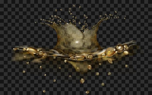 Przezroczysta powierzchnia wody z koroną i kroplami spadającego przedmiotu. splash w żółtych kolorach, na przezroczystym tle. widok z boku. do stosowania na ciemnym tle. przezroczystość tylko w pliku wektorowym