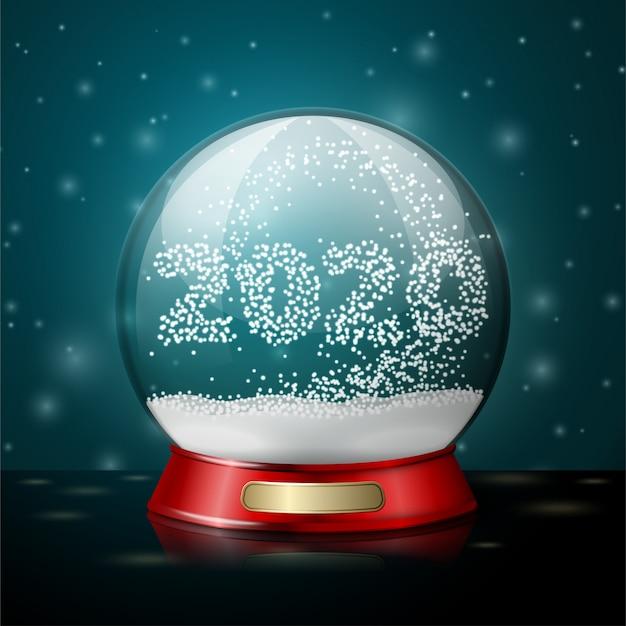 Przezroczysta realistyczna wektorowa kryształowa kula z płatkami śniegu w kształcie 2020 roku