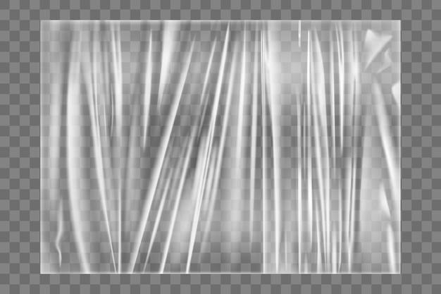 Przezroczysta, rozciągliwa faktura folii z tworzywa sztucznego. realistyczna folia stretch do pakowania polietylenu