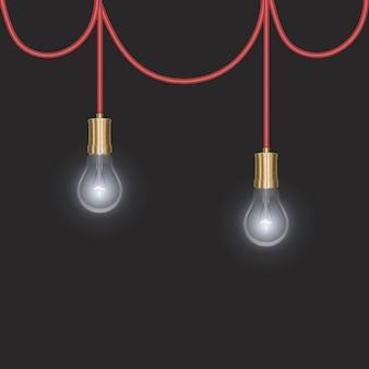 Przezroczysta świecąca żarówka elektryczna ze srebrną podstawą w realistycznym stylu
