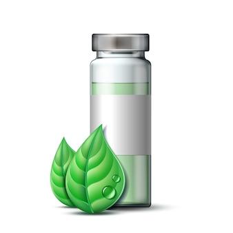 Przezroczysta szklana ampułka ze szczepionką lub lekiem do leczenia i dwoma zielonymi liśćmi. symbol farmaceutyczny z liściem dla apteki, medycyny homeopatycznej i medycyny alternatywnej.