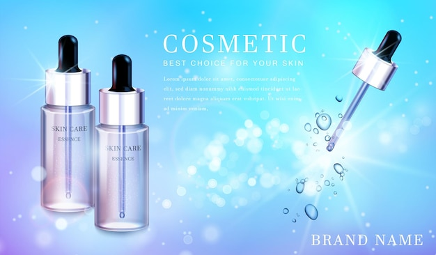 Przezroczysta szklana butelka kosmetyczna z błyszczącym błyszczącym sztandarem szablonu tła.