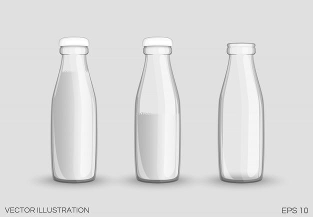 Przezroczysta szklana butelka mleka