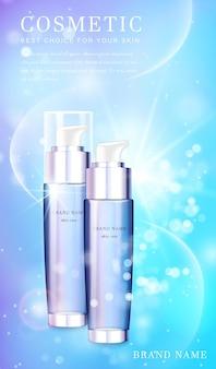Przezroczysta szklana butelka z rozpylaczem kosmetycznym z błyszczącym błyszczącym sztandarem szablonu tła.