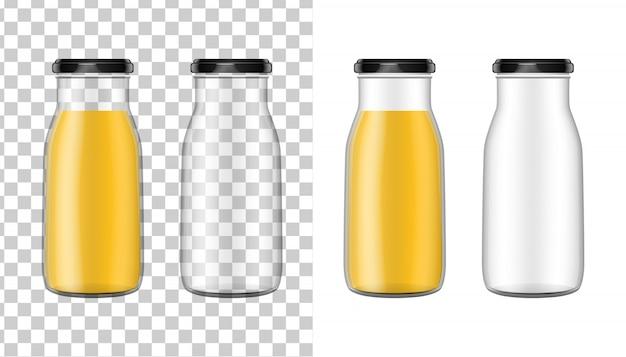 Przezroczysta szklana butelka.