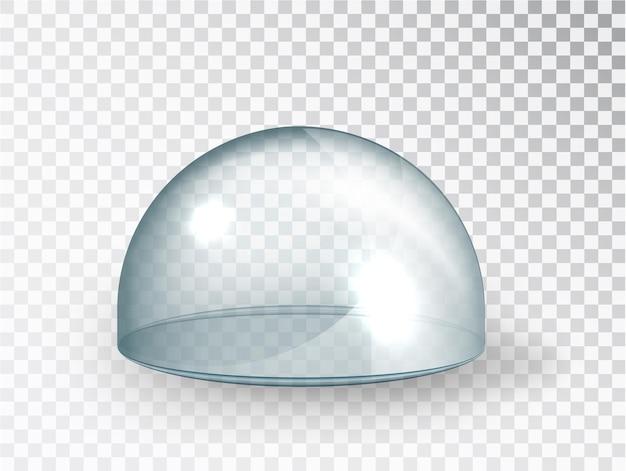 Przezroczysta szklana osłona. makieta półkuli wektorowych na przezroczystym tle