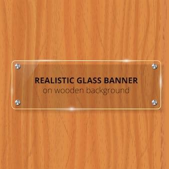 Przezroczysta szklana płytka. brązowe drewniane tła. element dekoracyjny. plastikowy błyszczący panel z refleksją, cieniem.