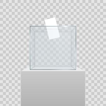 Przezroczysta urna wyborcza z papierem do głosowania w otworze.