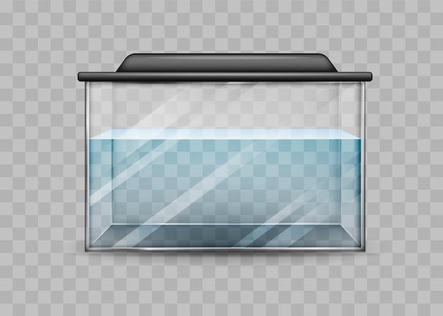 Przezroczyste akwarium z szablonem na białym tle wody.