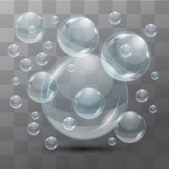 Przezroczyste bąbelki wody