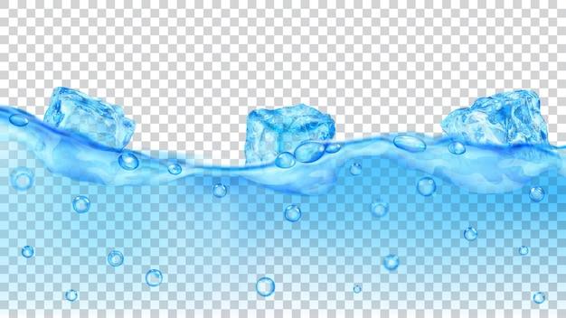 Przezroczyste jasnoniebieskie kostki lodu i wiele pęcherzyków powietrza unoszących się w wodzie na przezroczystym tle. przezroczystość tylko w formacie wektorowym