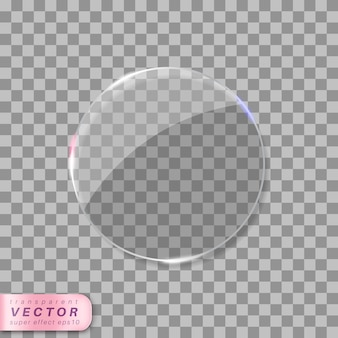 Przezroczyste okrągłe szkło z odblaskami.