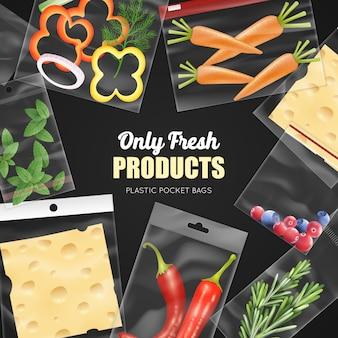 Przezroczyste plastikowe torby kieszonkowe do pakowania, świeże produkty na czarnym tle realistyczne ilustracji wektorowych