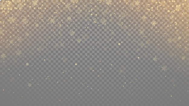 Przezroczyste płatki śniegu w kolorze złotym podczas opadów śniegu z lekkim efektem świecenia