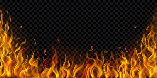 Przezroczyste płomienie ognia i iskry na przezroczystym tle