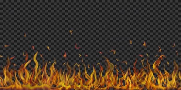 Przezroczyste płomienie ognia i iskry z poziomym powtórzeniem na przezroczystym tle