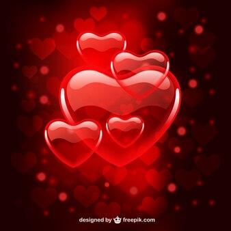Przezroczyste serca walentynkowe