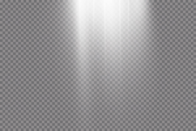 Przezroczyste światło słoneczne. scena oświetlona światłem punktowym. efekt świetlny na przezroczystym tle.