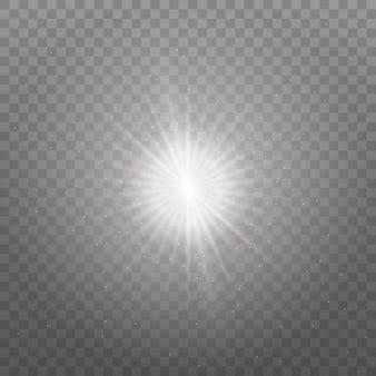 Przezroczyste świecące słońce, jasny błysk. błyszczy. wybucha białe świecące światło. lśniące magiczne cząsteczki kurzu. jasna gwiazda. aby wyśrodkować jasny błysk.