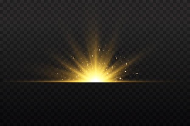Przezroczyste świecące słońce jasny błysk żółte świecące światło