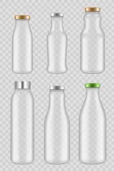 Przezroczyste szklane butelki. pakiety makieta wektor soku mleka na białym tle