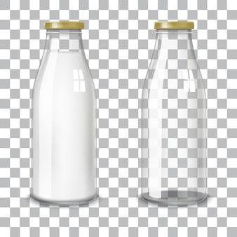 Przezroczyste szklane butelki.