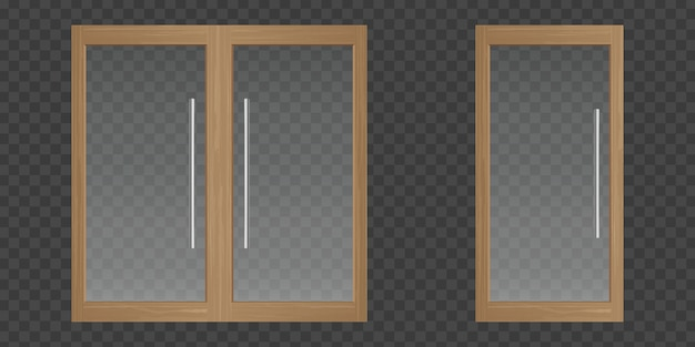 Przezroczyste szklane drzwi z drewnianą ramą