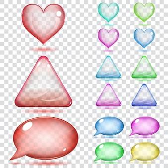 Przezroczyste szklane serca, trójkąty i dymki w różnych kolorach