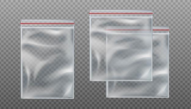 Przezroczyste torby na suwak. puste torebki w różnych rozmiarach na przezroczystym tle.