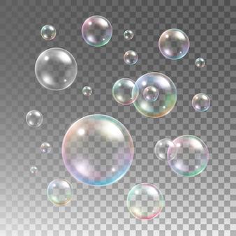 Przezroczyste wielobarwne bańki mydlane na kratkę w tle. kula kula, woda projektowa i pianka, mycie wodą