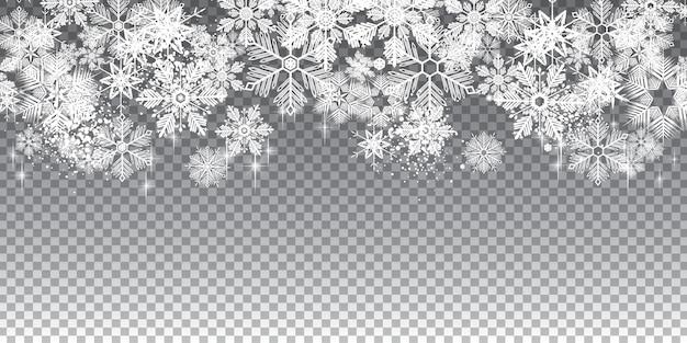 Przezroczyste zimowe płatki śniegu pełne tło z warstwami
