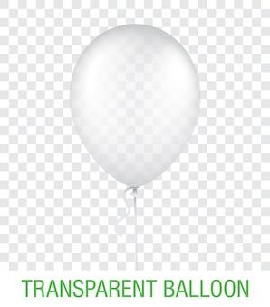 Przezroczysty balon, na białym tle na tle. realistyczna ilustracja balon na przyjęcie, uroczystość, festiwal, urodziny lub brandingową dekorację.