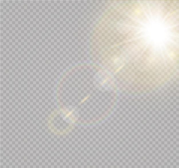 Przezroczysty efekt światła słonecznego ze specjalną flarą.