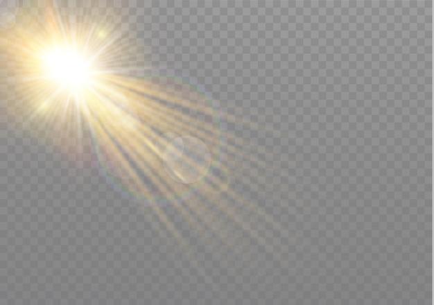 Przezroczysty efekt światła słonecznego ze specjalną flarą