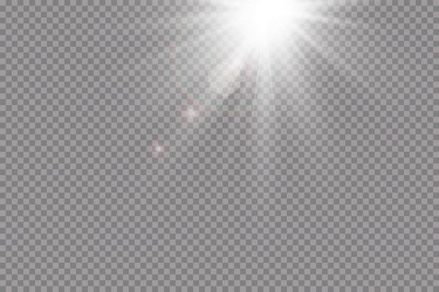 Przezroczysty efekt światła słonecznego ze specjalnym efektem flary. błysk słońca z promieniami i światłem punktowym